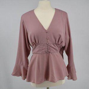 City Chic peplum rose flare sleeve blouse